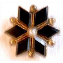 Victorian Small Onyx/Pearl Star Pin #2375557