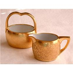 "Pickard ""Gold Baroque"" Sugar & Creamer #2375559"