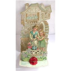 Antique Foldout Valentine - Sailor boy & girl #2375565