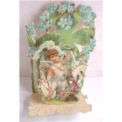 4 leaf clovers/cupid -Antique Foldout Valentine#2375566