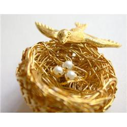 Jeanne Bird & Nest Brooch - Cultured Pearls #2375576