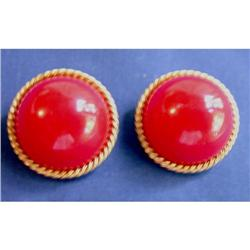 Hattie Carnegie Red Button Earrings #2375578