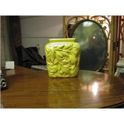 Haeger Molded mustard  yellow leaf vase - #2375584