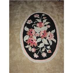 Vintage Oval Wool Floral Hooked Rug #2375589
