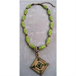 "Vintage 18"" Green Glass Bead Pendant #2375598"