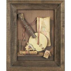 Banjo print 3D still life Shadow Box Folk Art #2375617