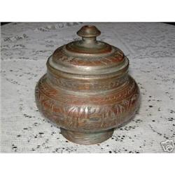 Vintage jar Persian Antique copper work candy #2375641