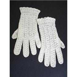 ANTIQUE HAND MADE LACE LADIES GLOVES #2375647