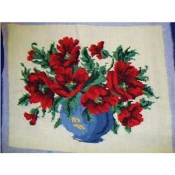 VINTAGE NEEDLEWORK - RED POPPY FLOWERS #2375665