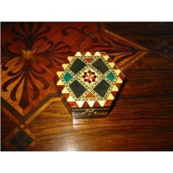 Spanish Inlay wood box w red Interior! #2375677