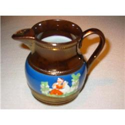 Porcelain copper overlay mini pitcher majolica!#2375690