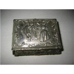 Figural Silvertone Jewlery Box with red #2375696