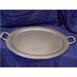 Large Antique Hammered Copper Tray with Handles#2375724
