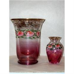 Pair of Hand Painted Cranberry to Clear Vases #2375725