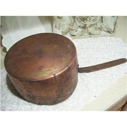 Primitive Hand Crafted Antique Copper Pot #2375727