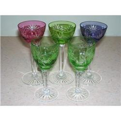 Lot of 5 Cut Glass Multi Colored Cordials #2375739