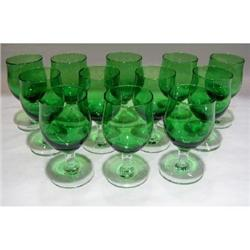 Set of 12 Emerald Green Glasses with Clear#2375741