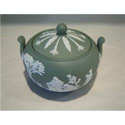 Wedgwood Jasperware Sage Sugar Bowl with Lid #2375743