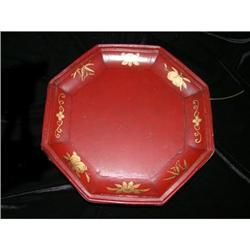Qing Dynasty Fir Octagon Oxblood Bride's Plate #2375805