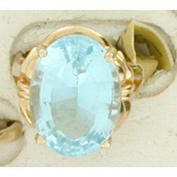 BIG 22.12ct Blue Topaz 14k Yellow Gold Ring #2375813
