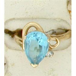 NICE 4.68ct Blue Topaz & Diamond 14k Gold Ring #2375814