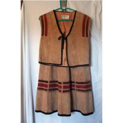 Vintage Tan Suede Leather Skirt & Vest #2375834