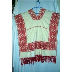 Vintage Mexican Hand  Red Work Poncho #2375837
