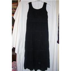 Vintage Black Crochet/Gauze Tiered Dress #2375845