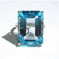 47.88ct Emerald Cut Topaz & 14kt Gold Ring #2375858