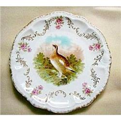 Plate Quail Roses Plate Bavaria Collector #2375889