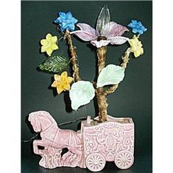 Lamp Horse Nursery Art Glass Flowers Vintage #2375904