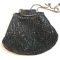 Purse Bechamel Black Beaded Clutch Vintage #2375906
