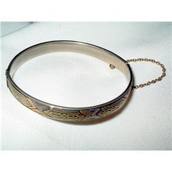 Spanish Toledo Damascene Hinged Bangle Bracelet#2375961