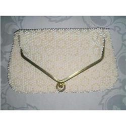 White Lumured Caviar Bead Clutch Purse #2375962