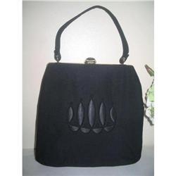 Black Silk & Satin Day Evening Handbag #2375965