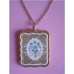 Necklace Gold Painted Floral Porcelain Pendant #2375966