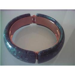 Clamper Bangle Bracelet Forest Green/Goldtone  #2375977