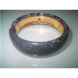 Hinged Clamper Bangle, Speckled Gray Lucite #2375978