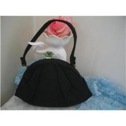 Art Deco Black Silk Crepe Handbag Rhinestones  #2375982
