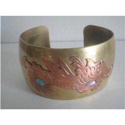 Cuff Bangle Copper Brass & Conch Shell  #2375986