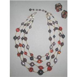 Four Strand Lucite & Glass Necklace & Earrings #2375990