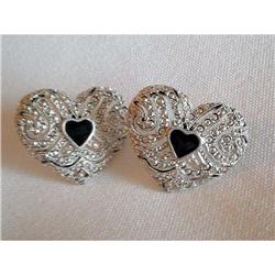 Stunning Marcasite & Enamel Heart Earrings #2375993