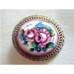 "Art Deco Silver 800 & Porcelain Brooch ""C"" #2375998"