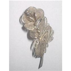 Silver 800 Filigree Flower Brooch Pin #2375999