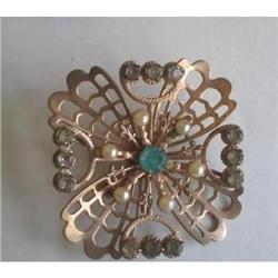 Art Deco Gold Vermeil Aqua Rhinestone Brooch #2376000