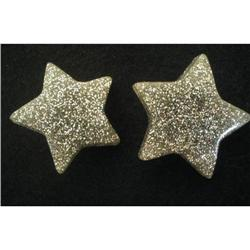 Earrings Huge Silver Confetti Lucite Stars  #2376003