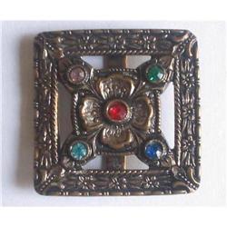 Art Deco Copper Belt or Sash Buckle, Paste #2376007