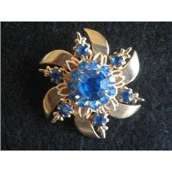 Gold Vermeil Rhinestone Pinwheel Brooch #2376010