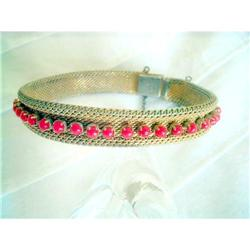 Mesh Goldtone Bangle Bracelet Signed Radi Spain#2376011