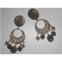 Boho Chic Gypsy Earrings Black Lucite #2376012